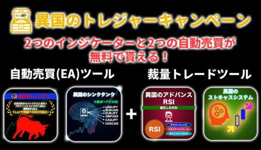 【異国のトレジャーキャンペーン】MT4で使えるEAとインジケーター4つを無料でプレゼント!